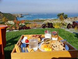 Breakfast overlooking the ocean