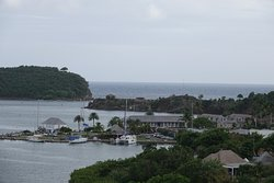 The view of the dockyard from the road that takes you to Shirley Heights