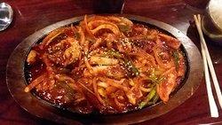 """Ojingoh Bokeum"" Sauteed Squid & Veggies w/spicy sauce (and they ain't lyin'!)"