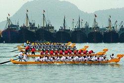 Dragon boats racing