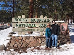 Entry to RMNP,  Guide/Driver took our photo, but only after photo bombing by snapping one of himself :)