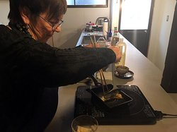 Cooking Japanese layered omelet. Ai's Cuisine - Japanese Cooking Class in Kyoto -