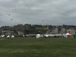 Closing in on the chateau and the WW2 tented village.