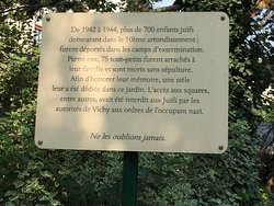 Jardin Villemin - in Remembrance of the children of the 10th Arrondissement who were deported by the Nazis