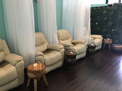 Our recliner leather lounge very comfortable for foot reflexology massage or express facial treatment.