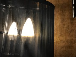 Torn lampshades in main lounge.