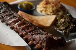 Full Rack of Baby Back Ribs with Collard Greens and Mac and Cheese