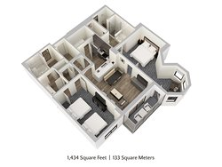 Two Bedroom, Two Bathroom Family Suite with Solarium Floor Plan