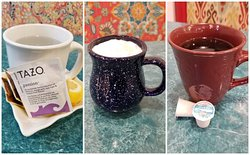 Warm beverages for these cold, winter days! Hot tea, cappuccinos, hot chocolate or freshly brewed coffee!