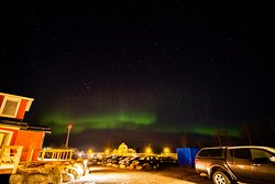 Northern Lights from the hotel's parking lot