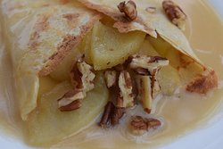 Homemade caramel sauce and apples in our delicious authentic French crepes.