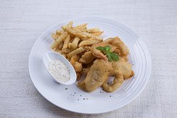 Seafood and chips served with homemade tartar sauce and spicy mayonnaise