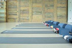 Empty yoga mats.