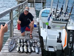 At the end of our charters we make sure and give you great experience and a beautiful catch you can tell your friends about. These are blackfin tunas and the bigger one is a king mackerel.