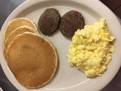 Buttermilk pancakes, sausage, and eggs!