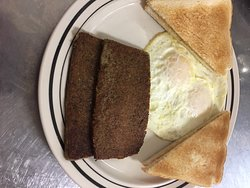 Our new menu item - SCRAPPLE! with eggs and toast