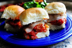 Meatball Sliders: All beef meatballs on hawaiian rolls, smothered in tuscay herb sauce and melted mozzarella.  Yep, we did it!