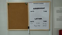 Board where flight pick up notices are posted the night before