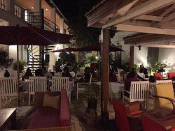 Inside Oasis Cafe Tulear. Oasis is in the backyard of a historical colonial building