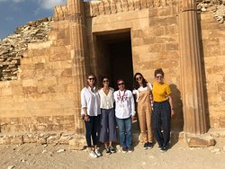 Rasha Elashmawy with Sopie Discard and her family from Farance on a tour in Saqqara in Nov 2018