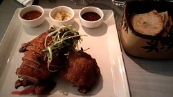 Duck, duck, goose served with tokyo scallion pancakes, gooseberry compote, pineapple hoisin, ginger scallion