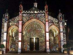 The colorful facade of the Basilica Notre Dame