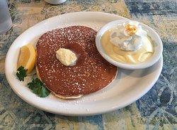 Banana Pancakes with Lilikoi Sauce on the side