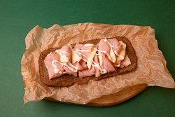 Danish sandwich with ham and cheese.
