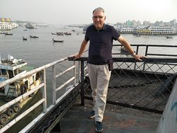 A solo traveler from Germany is in Sadarghat Boat Terminal, Dhaka.