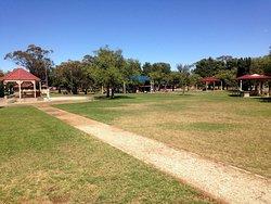 Park land area at Memorial Park in Jamestown.
