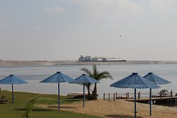This is the historic Suez Canal at Isamalia, Egypt