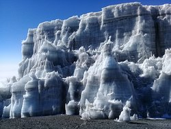 Permanent ice on the top of Mount Kilimanjaro