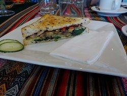 Half of my toasted vegetarian sandwich