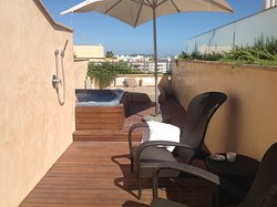 Roof terrace of room, gorgeous views and comfortable beds(more comfortable than the one in the room!)