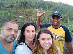 My Romanian family, Radu, Cristina and Alexia. We were in Tegalalang rice terrace