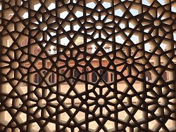 Floral, detailed design of marble from inside the Tomb of Salim Chishti who prayed on Akbar's behalf that he would have a son