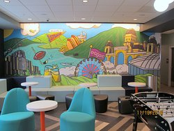 Syracuse mural in the lobby/game area.