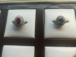 14Kt White Gold with Diamond and Blue Sapphire and Ruby Double Cluster Rings