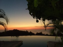 Pool area at sunset. Same view can be seen from the dining room.