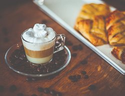 Café Bon-Bon (condensed milk, evaporated milk, espresso, whipped cream) and pastries