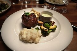 Remington's Chicago, 20 N Michigan Ave - 8 oz Filet Mignon w/ truffle béarnaise. Mashed Potatoes & Roasted Brussels Sprouts