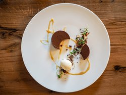 Chocolate crumble tart, sea salt granola, toasted almond ice cream, lime butterscotch.