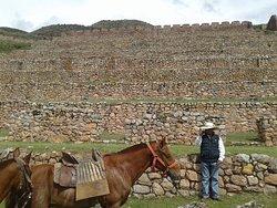 Ancient ruins at top of mountain.