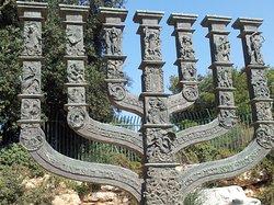 Bronze menorah by Benno Elkan at the entrance to the Knesset, Jerusalem