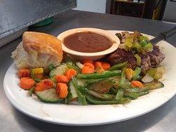 Salisbury Steak Dinner with Capri Vegetables