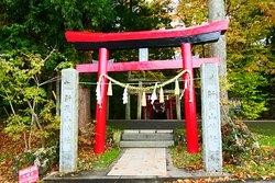 一番手前の赤い鳥居はよく見ると全体は赤色ベースですが、鳥居の最上部の横材の笠木が赤で、すぐ下の島木が黒と言うツートンカラーに神額の字は「山神社」の文字が書かれてました。素敵な鳥居です。 後ろにはたくさんの鳥居が控えてます。