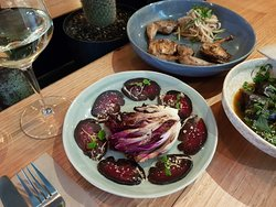 Beef carpaccio, in pho spices, with grilled radicchio