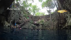 Beautiful cenotes in a small town, just few local people where swimming