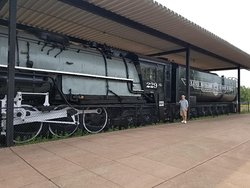 A very large, retired steam engine used by the Duluth Missabe & Iron Range Railroad to haul Iron Ore (Taconite) from the mines to Two Harbors for loading on the Lake Freighters