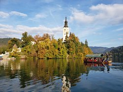 View of the island in the middle of lake bled.